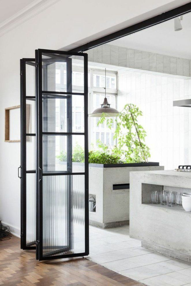 Déco Salon jolie porte accordeon interieur vers la cuisine moderne - decoration maison salon moderne