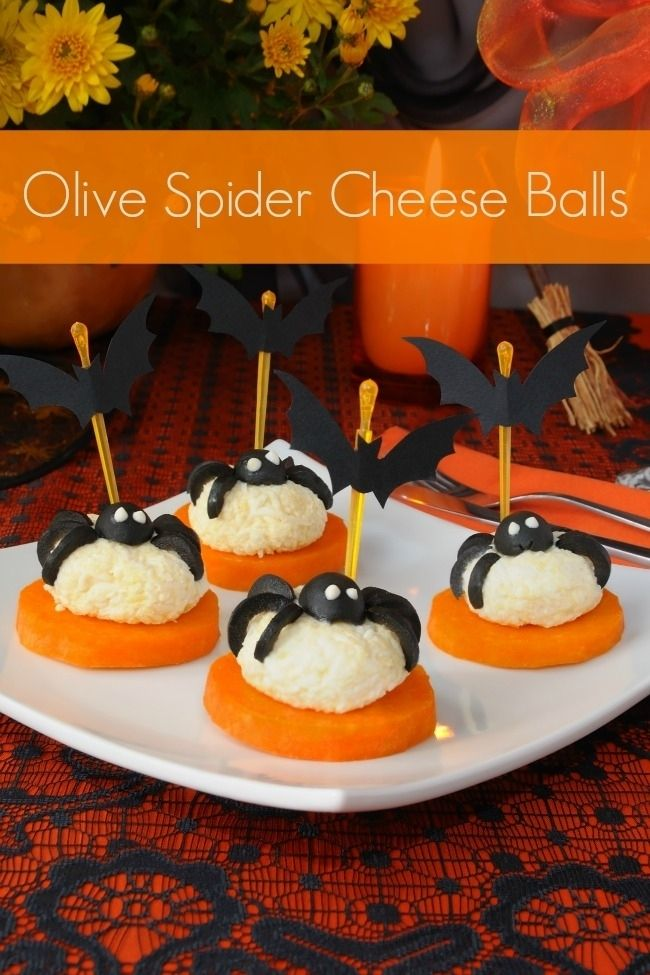 Olive Spider Cheese Balls halloween appetizers halloween food halloween recipe halloween recipes halloween party favors halloween party ideas