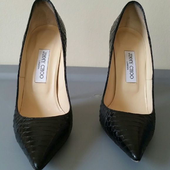 0e81a666f7d0 Authentic Jimmy Choo Anouk Snakeskin Pump Black Snakeskin Jimmy Choo pumps  Point toe Excellent condition and only worn twice 4 inch heel The perfect  closet ...