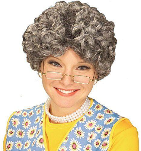 Ladies Grey Granny Wig with Bun Grandma Nanny Nanna Old Lady Fancy Dress