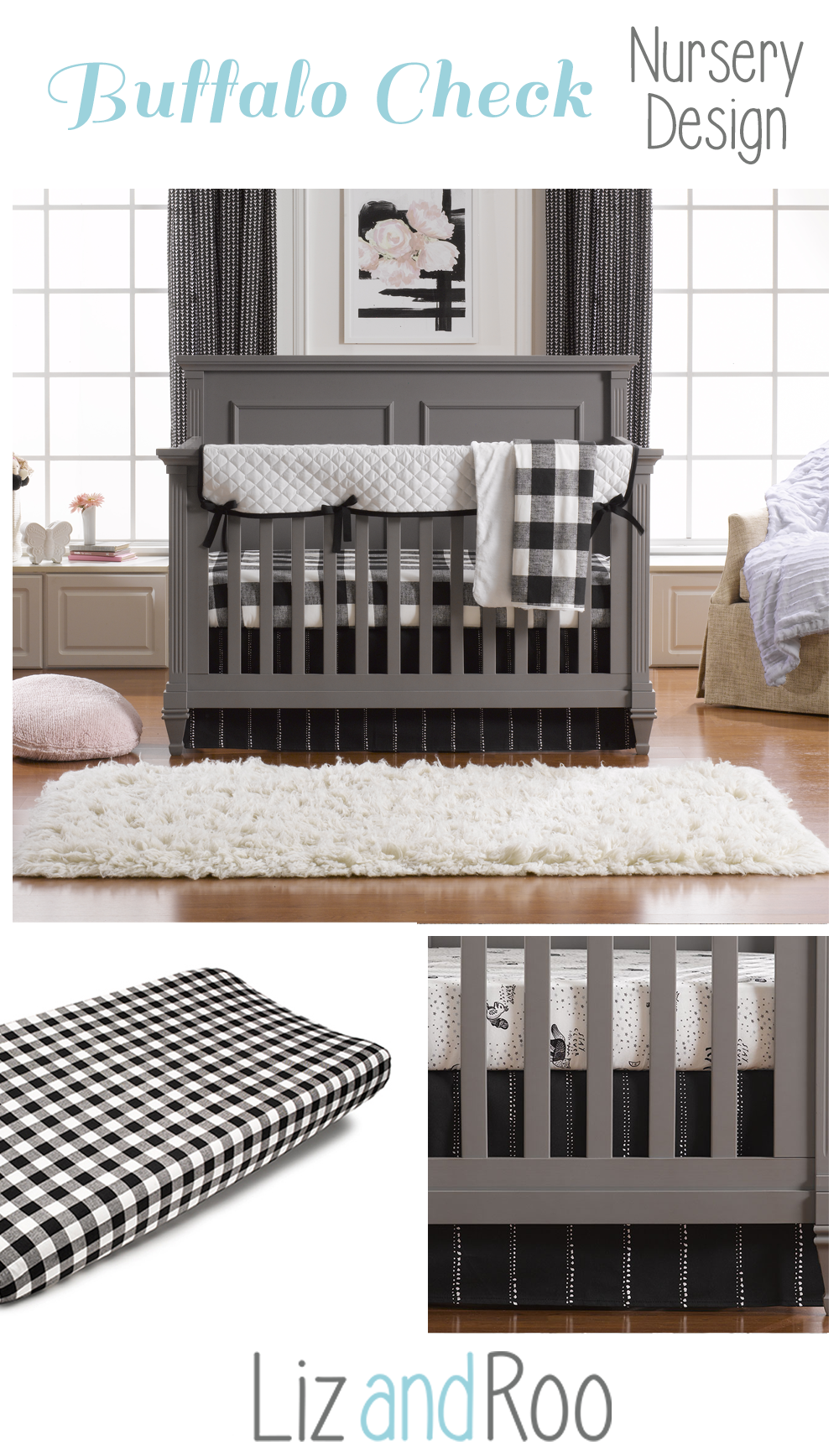 Modern Black And White Crib Bedding Set Liz And Roo White Crib Bedding Modern Crib Bedding Buffalo Plaid Nursery