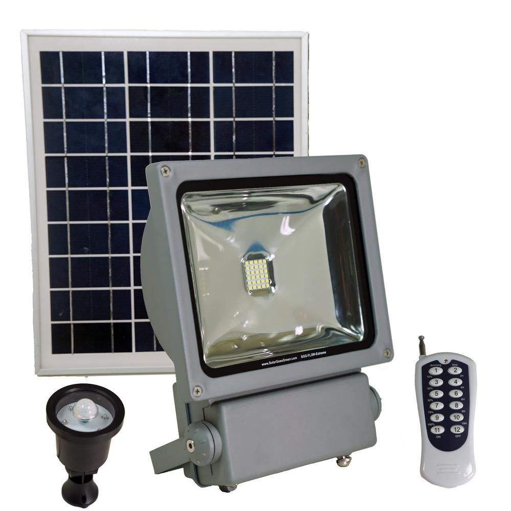 Solar Goes Green 100 Watt Super Bright 30 Motion Activated Grey Outdoor Integrated Led Solar Power Flood Security Flood Light Remote Sgg Fl3w Extreme Solar Flood Lights Solar Spot Lights Flood Lights