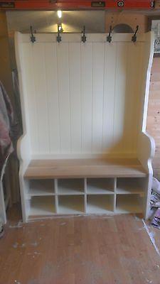 Handmade Bespoke Pew Settle With Coat Hooks And Shoe Storage