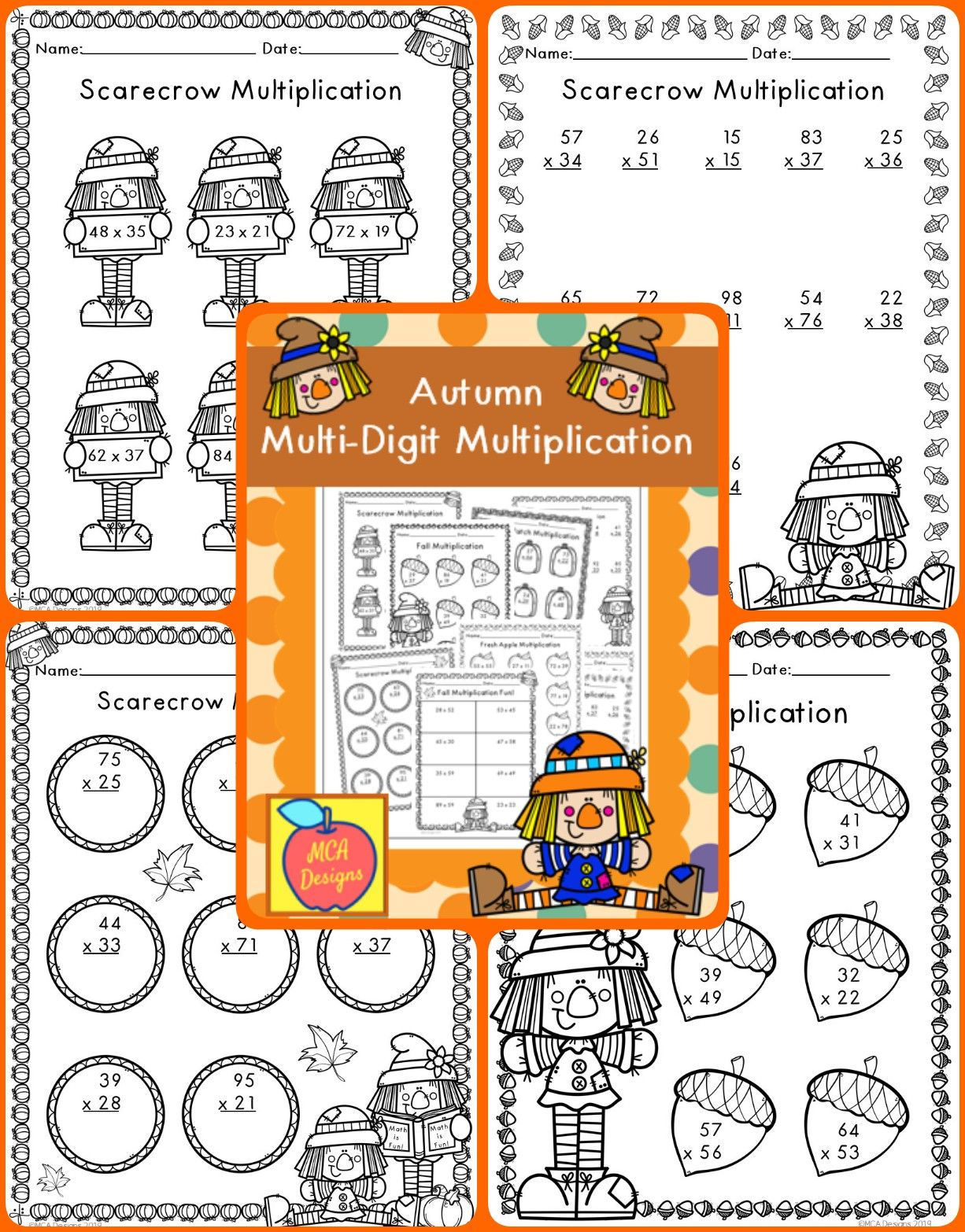Autumn Multi Digit Multiplication With Images