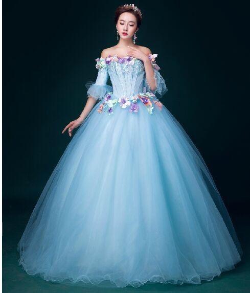 655c367d71b 100% luxo azul floral ruffled longo vestido Medieval vestido renascimento  Medieval vestido de baile vestido de carnaval de veneza