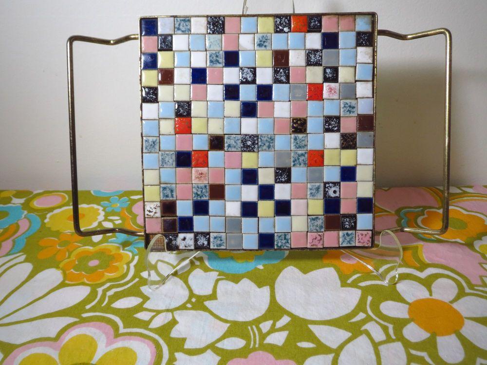 Vtg 1960s Mid Century Modern Ceramic Tile Mosaic Art Hot Plate Trivet Square