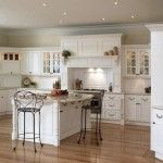 Wood floor kitchen with white cabinets, I so want to do this!
