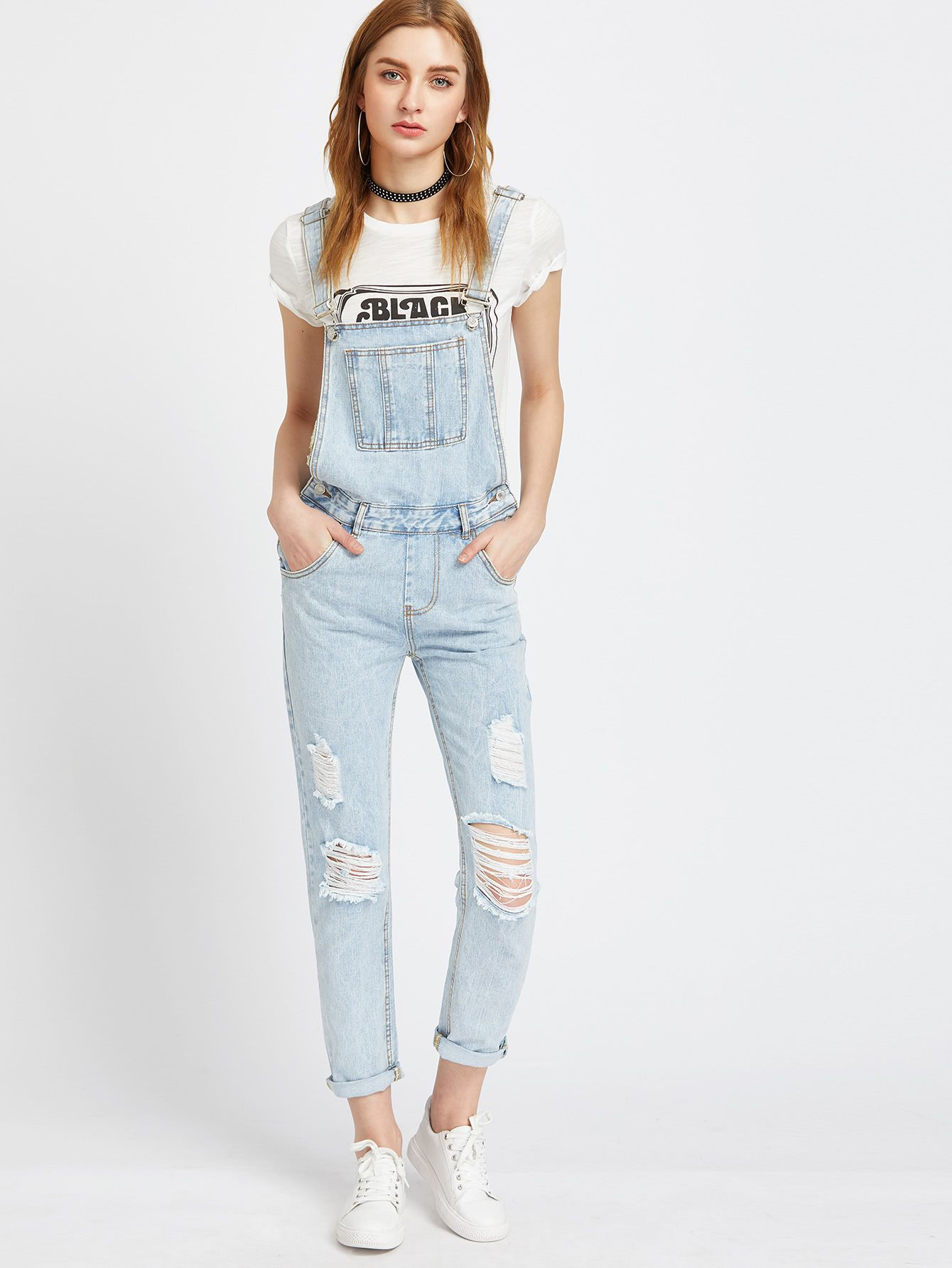 Light Blue Ripped Bleach Wash Cuffed Overall Jeans in 2019  d2292714f9