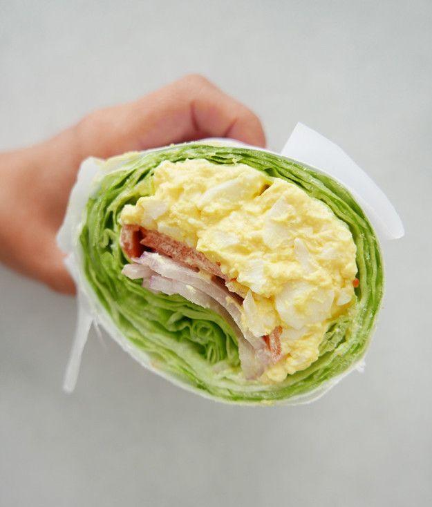 12:45 p.m.: Egg salad lettuce wrap. #healthyfood