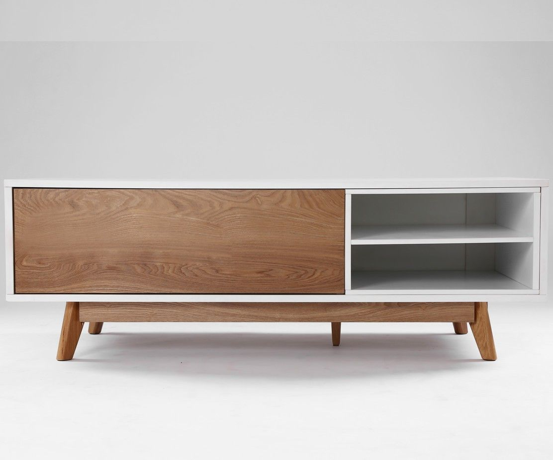 Meuble Tv Design Annecy 134 Cm Chene Et Blanc Moveis De Pinus Moveis Vintage Moveis