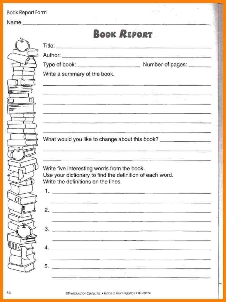 Sample 5th Grade Book Report Template Book Report Format 8 Free