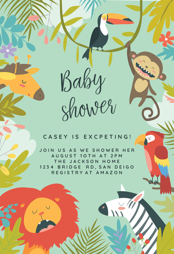 Wild Animals Baby Shower Invitation Template Free Greetings Island Animal Birthday Invitation Birthday Invitations Kids Animal Party Invitations