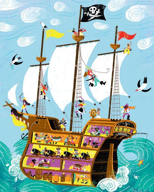 Pirate On Ship Cartoon Illustration Stock Vector - Image: 44796521