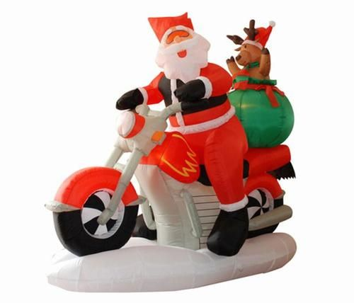 65\u0027 Inflatable Santa Claus on Motorcycle Lighted Christmas Yard Art - inflatable christmas yard decorations