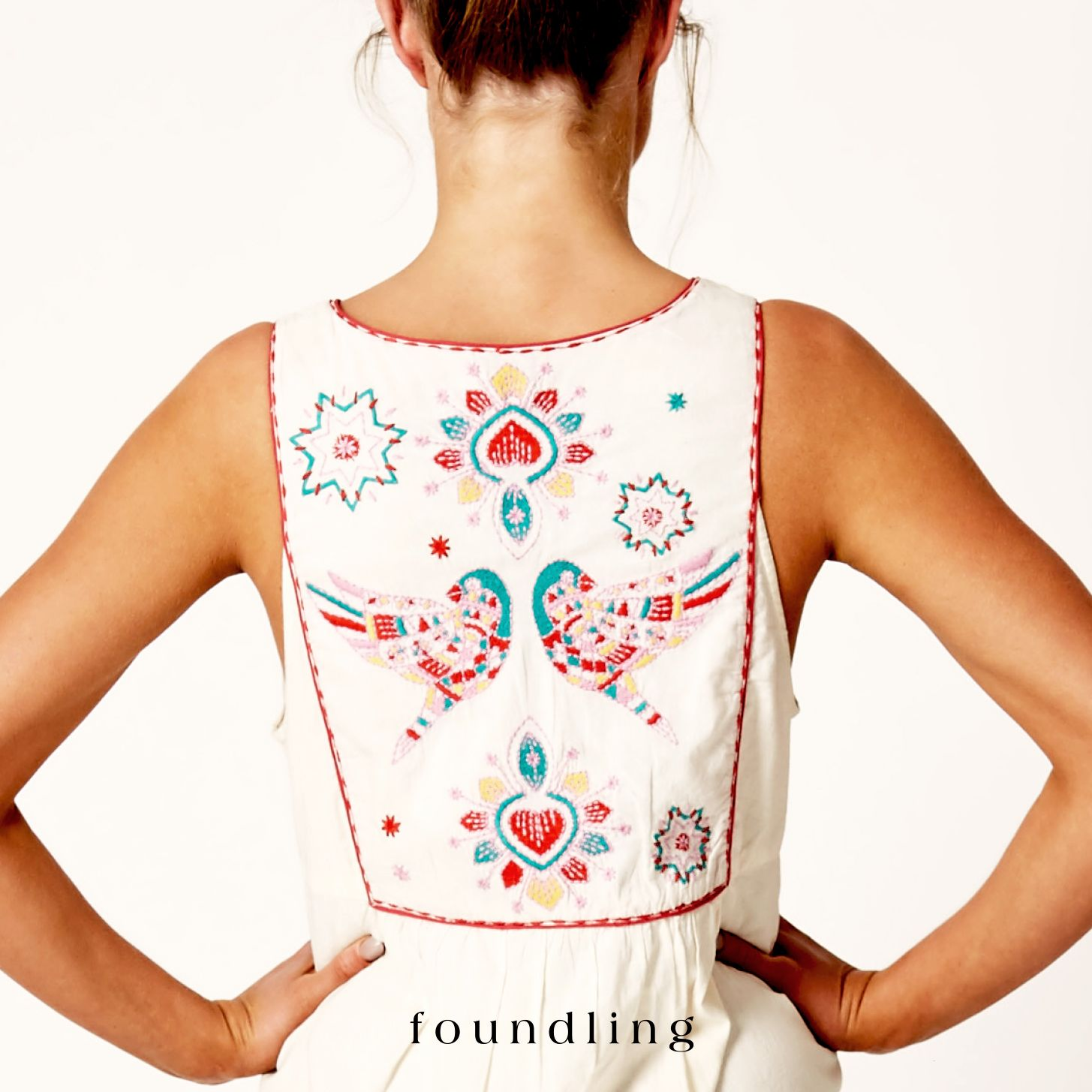 ...heavenly hummingbirds, traditional spanish crucifix & the sacred hearts..embroidered front and back on soft cotton voile..the la paloma embroidered shift..www.foundling.com.au