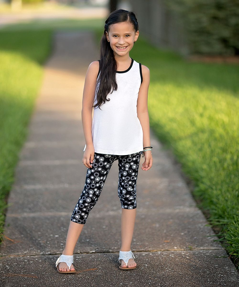 Black & White Tank & Three-Quarter Leggings Set - Toddler & Girls