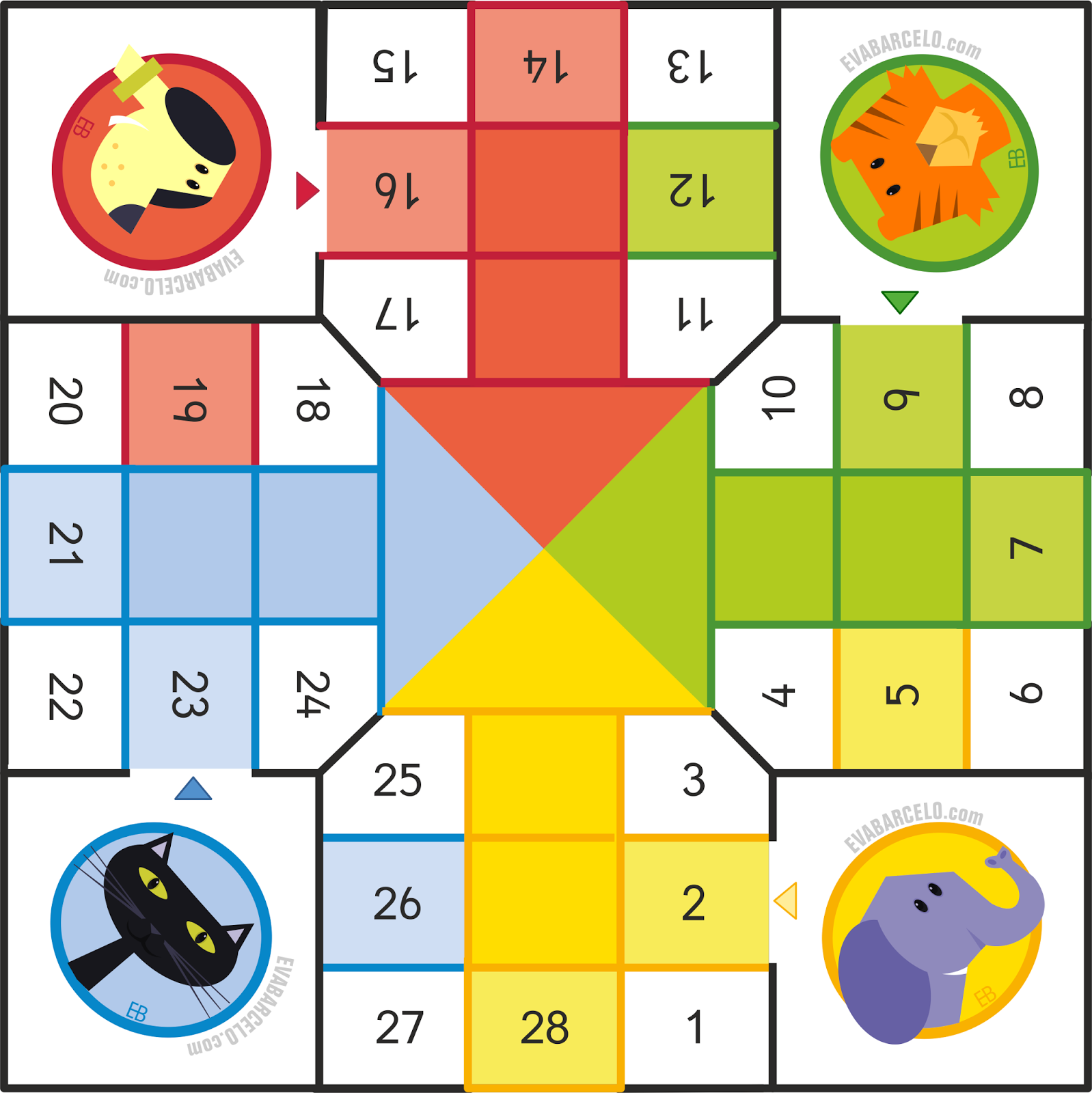 Game board colors - Parch S Para Peque Os Ludo For Preschoolers Gameboard By Eva Barcel Colors Dog Cat Elephant Tiger