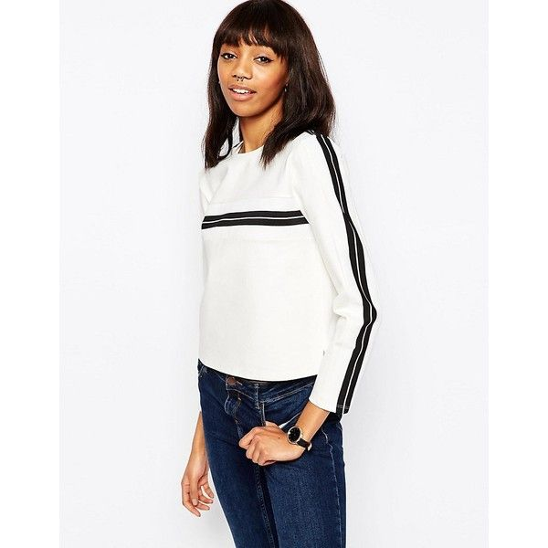 ASOS Sweat With Mono Stripe Insert (€38) via Polyvore featuring tops,  hoodies