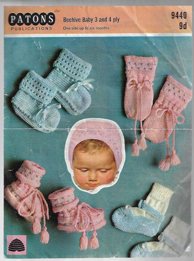 Baby Booties Mitts Patons 9440 Knitting Pattern 3 4 Ply Yarn