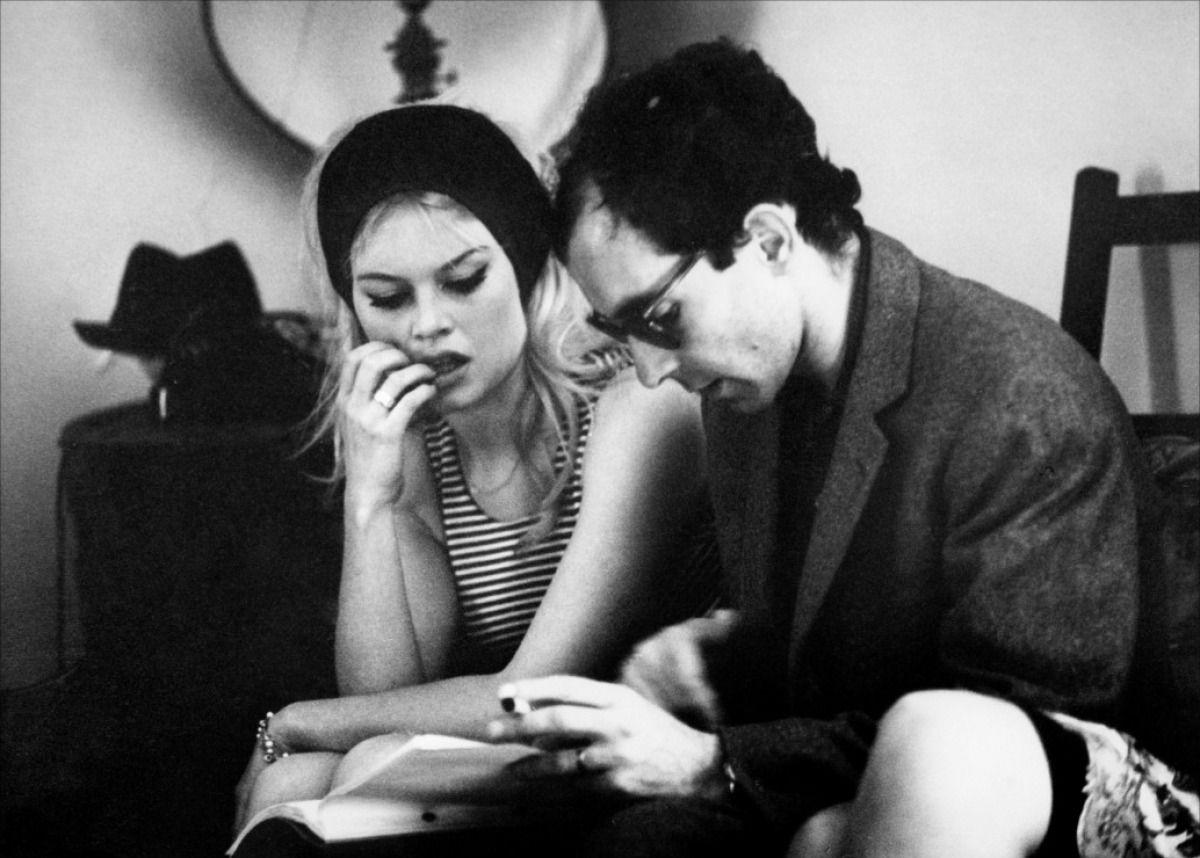 Brigitte Bardot and Jean-Luc Godard on the set of Godard's Le Mépris  (Contempt), 1963.