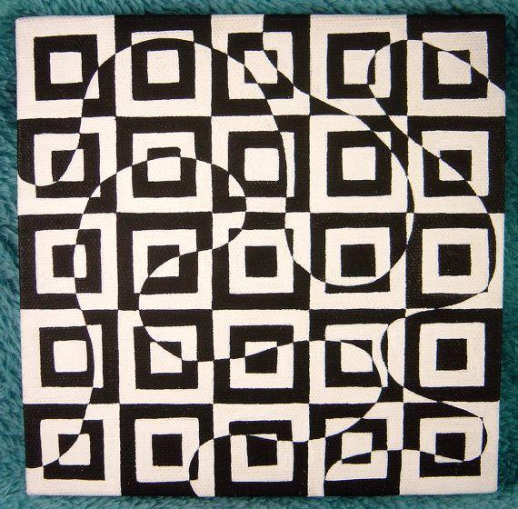 Stacia 6x6 black and white geometric square swirl for Geometric illusion art