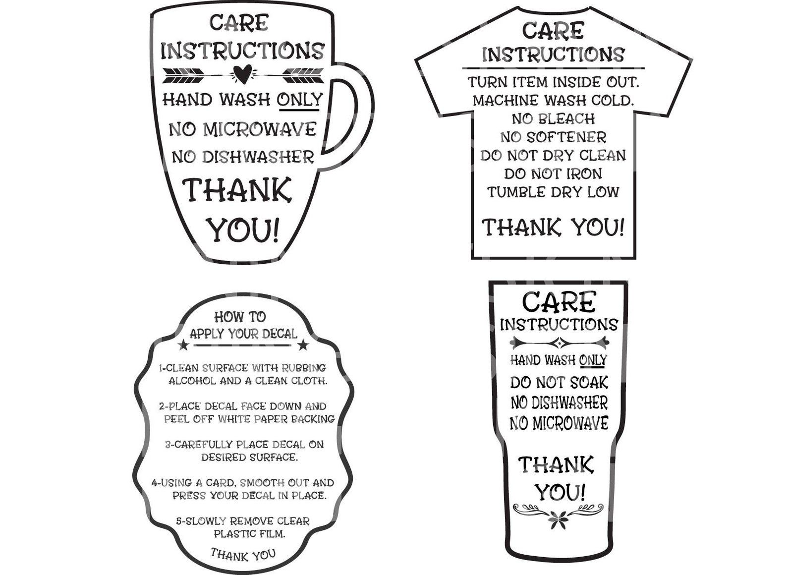 Care Instructions Digital File T shirt Care Instructions