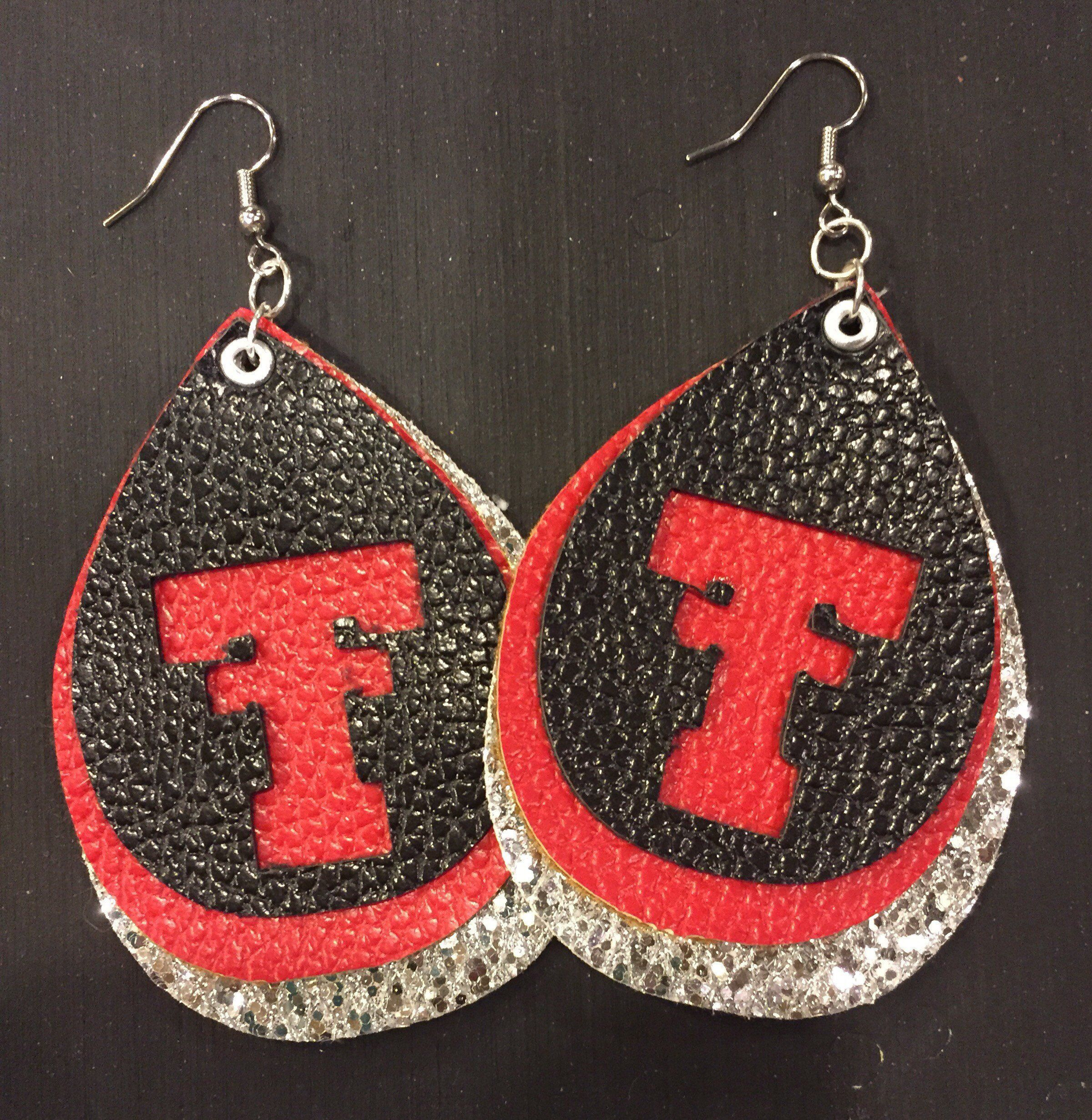 Texas Tech Jewelry Diamontrigue Jewelry: Texas Tech Layered Teardrop Earrings; Faux Leather Red