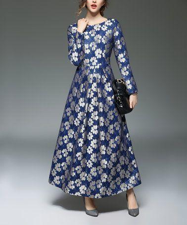 57f01b2aa0e Look at this  zulilyfind! Blue Floral Long-Sleeve Midi Dress ...