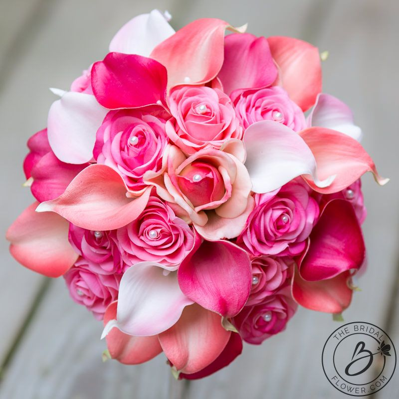 Pink and fuchsia real touch flowers wedding bouquet, 9″ – Real touch ...