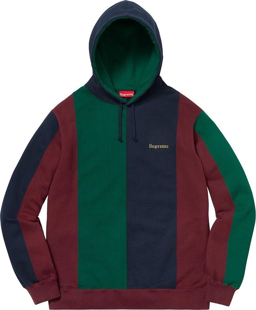 bf456936 Authentic Supreme FW18 Tricolor Hooded Sweatshirt Burgundy Medium IN HAND  (eBay Link)