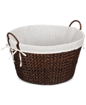 Household Essentials Banana Leaf Lined Laundry Basket Brown