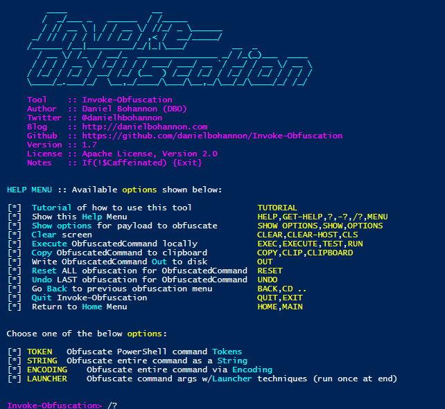 Invoke-Obfuscation v1 7 – PowerShell command and script obfuscator