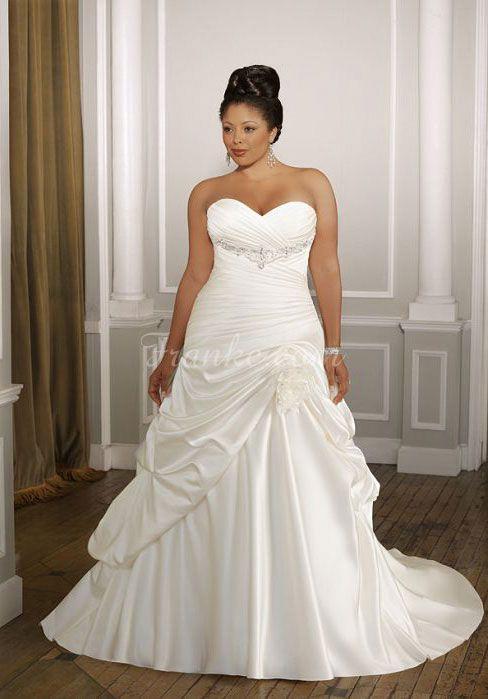 Plus Size With Sweetheart Neckline And Shirred Waistline Wedding Dress!