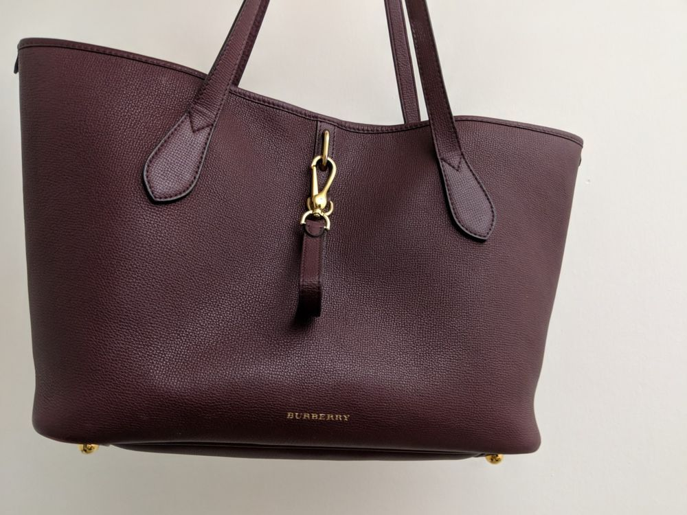 NWT Burberry Derby Leather Medium Honeybrook Tote Shoulder Bag Black   fashion  clothing  shoes 33af32288b35d