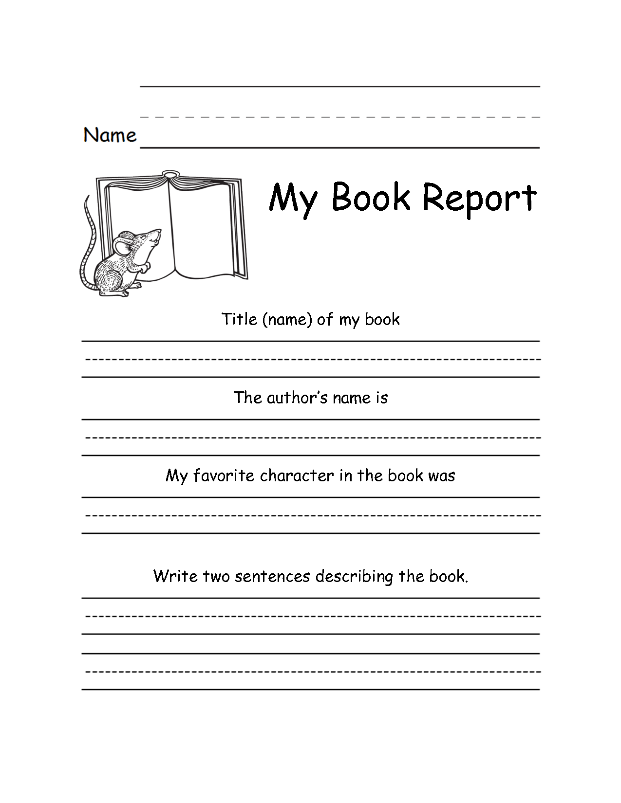 Book Report Forms For 2nd Grade