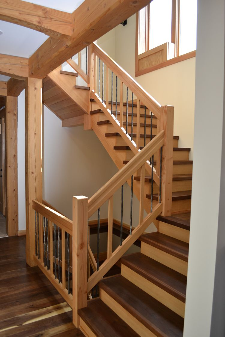 Walnut Treads Top Douglas Fir Risers. Stair BanisterDouglas ...