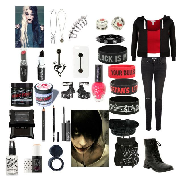 """""""Killing with Jeff the Killer"""" by dannytuf ❤ liked on Polyvore featuring Stephen Webster, LE3NO, Paige Denim, Disney, Manic Panic, Illamasqua, Estée Lauder, Christian Dior, Benefit and NARS Cosmetics"""