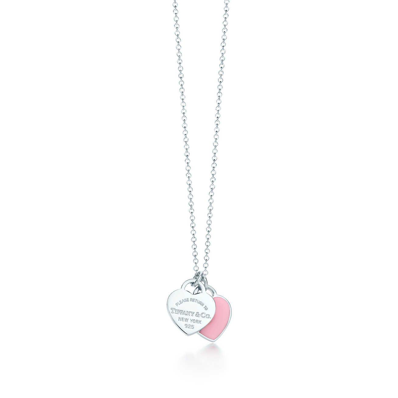 Return to tiffany mini double heart tag pendant tiffany pendants return to tiffany mini double heart tag pendant in silver with pink enamel finish tiffany co aloadofball Choice Image