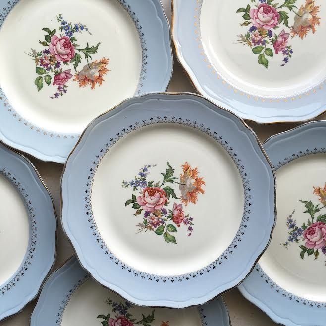 orangevertevintage vaisselle ancienne assiettes plates lot de 6 l 39 amandinoise www. Black Bedroom Furniture Sets. Home Design Ideas