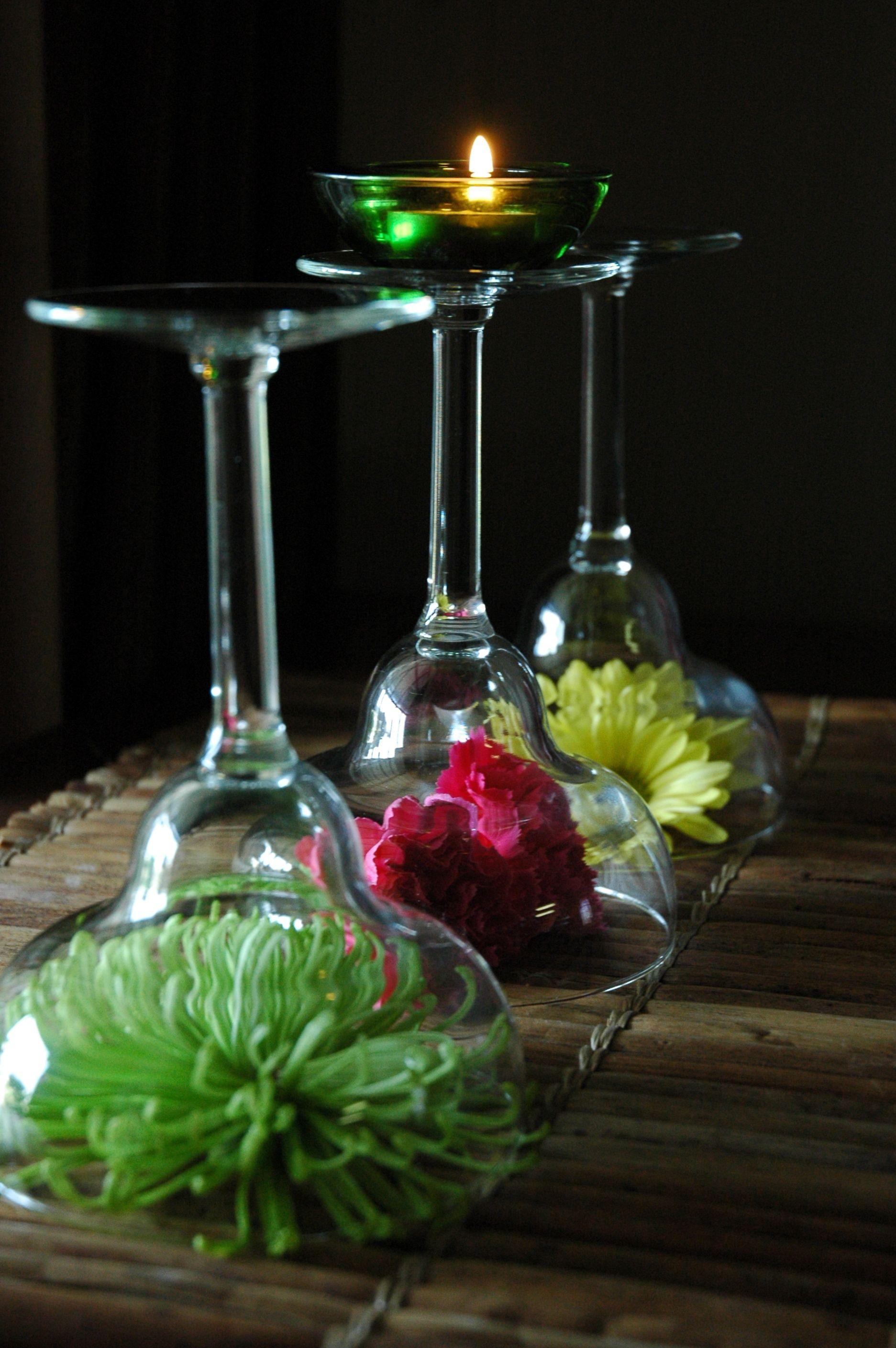 Flowers under wine glass centerpiece margarita or