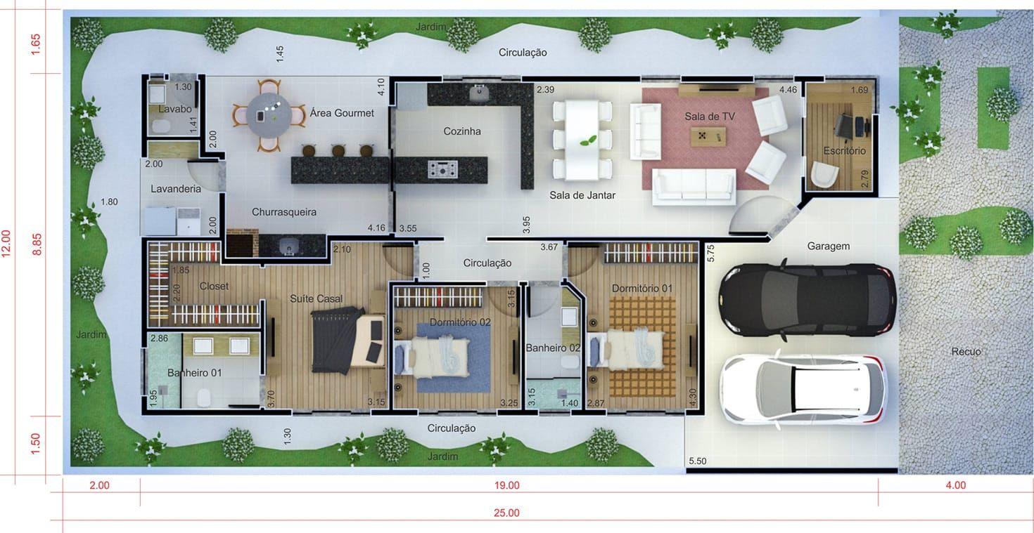 Plano de casa con aparente techo plano para terreno 12x25 for Plantas para casa