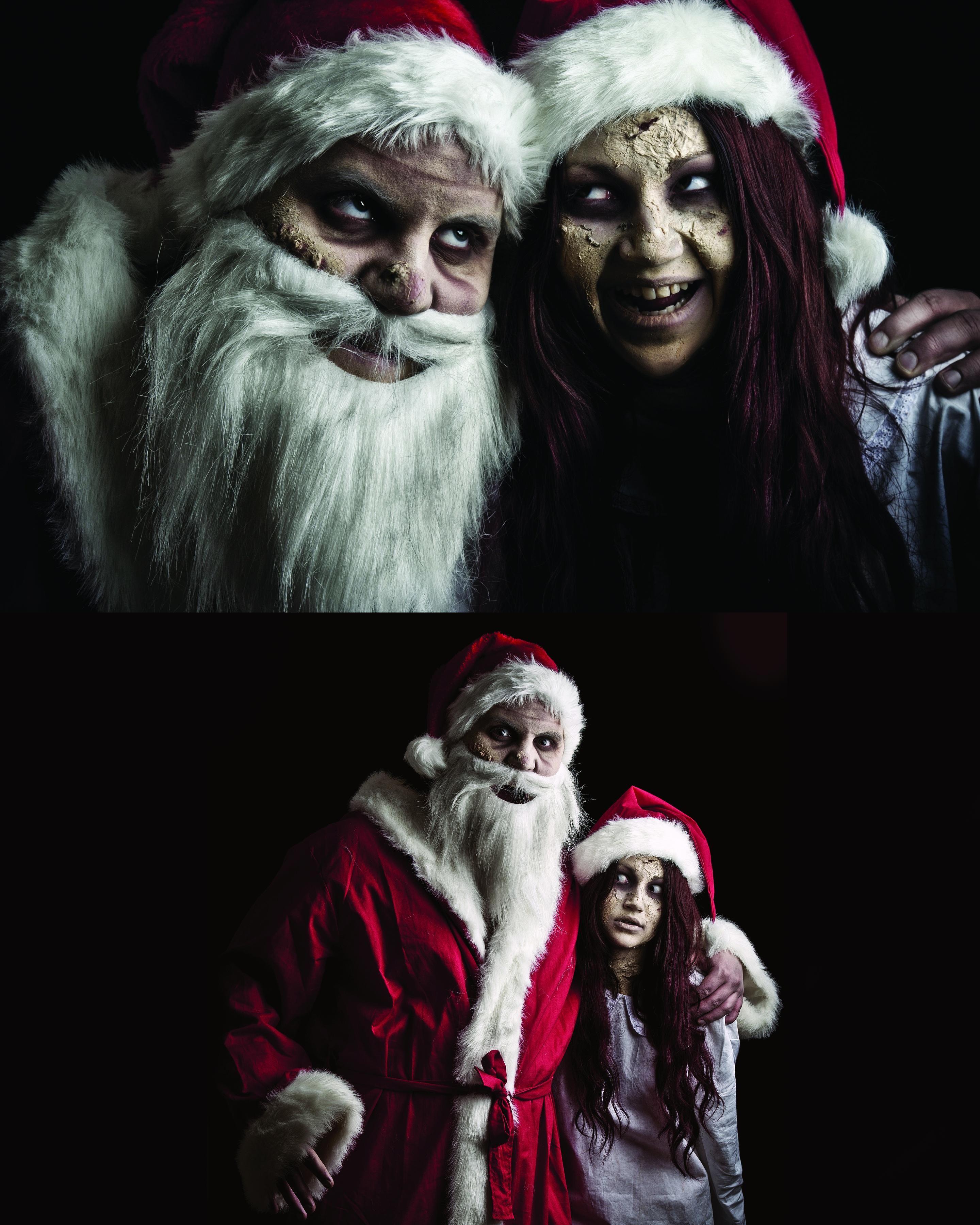 Evil Santa Claus And Zombie Snow Maide Weihnachten