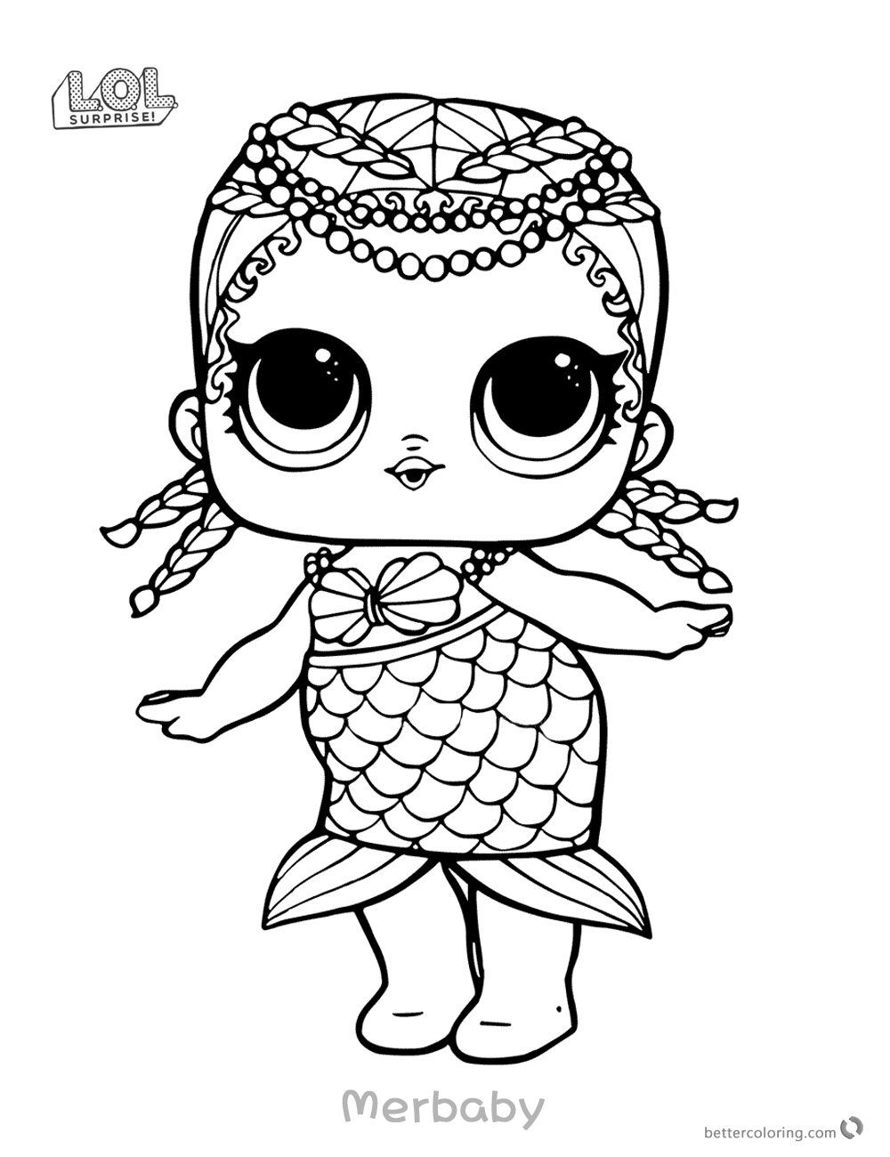 Mermaid lol surprise doll coloring pages merbaby printable