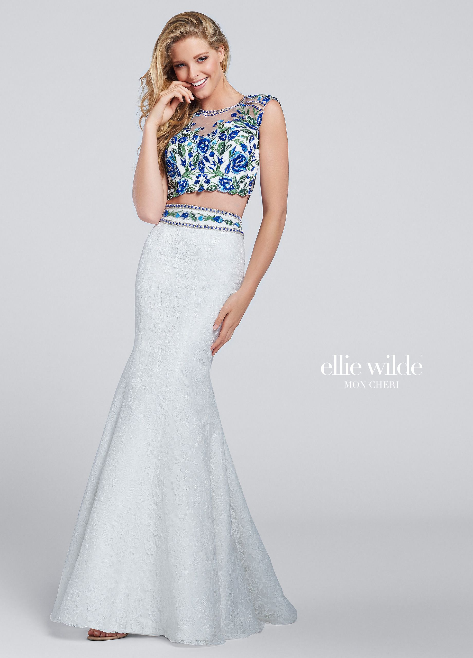 Two-piece Floral Lace Mermaid Prom Dress - EW117030 | Mermaid skirt ...