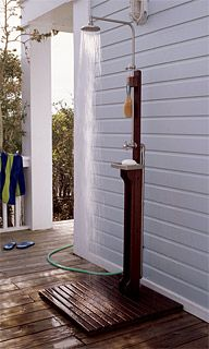 Outdoor Shower Hooks Up To An Hose Spigot Or Can Be Adapted For Hot Water
