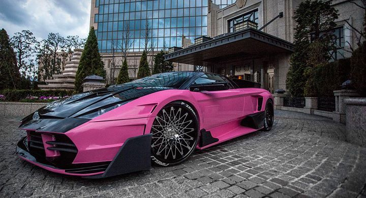 2013 black and pink lamborghini murcielago with chrome face and black gloss lip lexani cs monza wheels