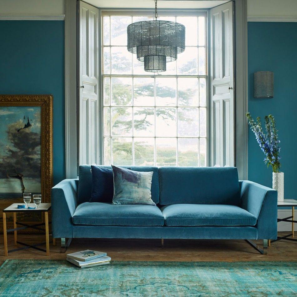 Januar blues samtsofa blaue zimmer wohnräume polster wohnzimmer türkis sofas