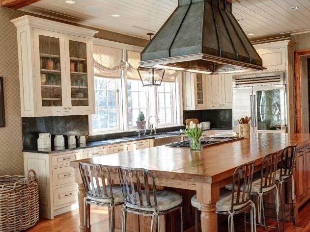 Kitchen Island Seating Rustic Details in Bethesda, Md Kitchen