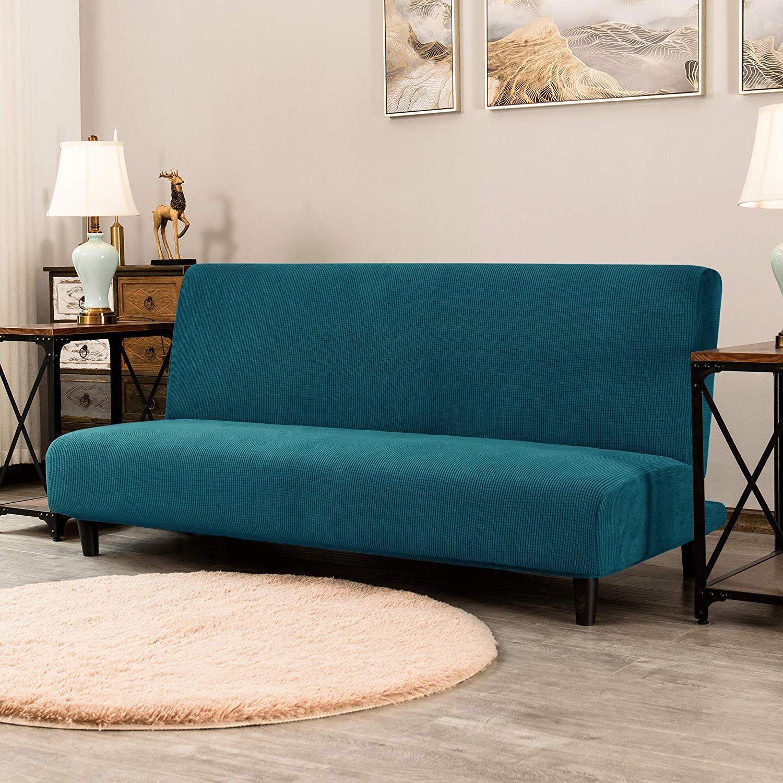 Subrtex Armless Sofa Cover Stretch Sofa Bed Slipcover Soft