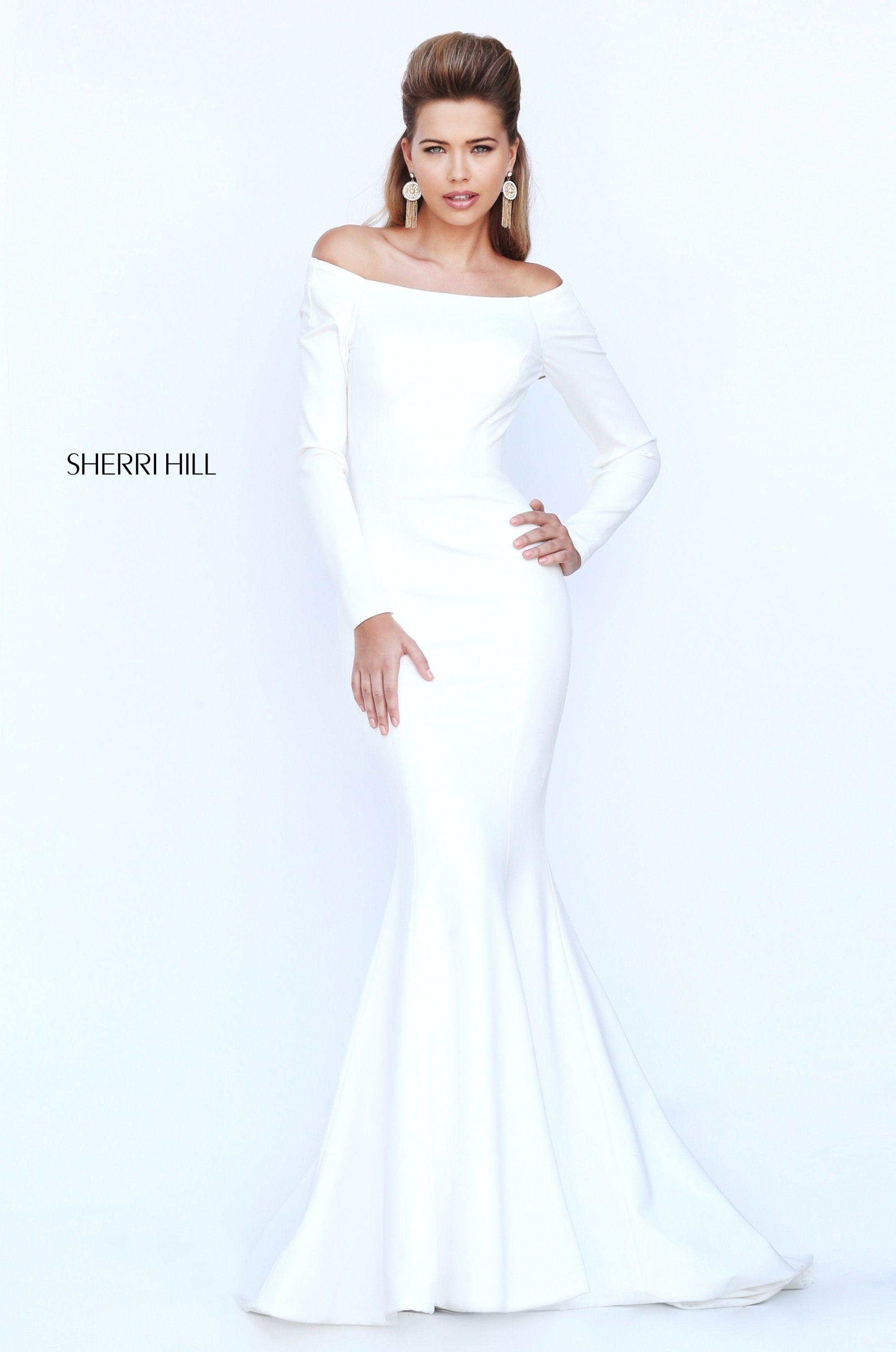 76ccbbbb9fd8 Sherri Hill 52511 Meghan Markle Royal Wedding Dress has Scuba material w  invisible zipper and a slight train.